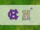 Navy-Holy Cross logos on grass