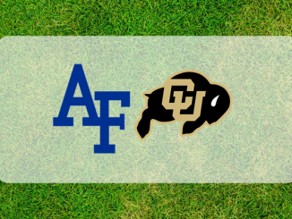 Air Force and Colorado logos on grass