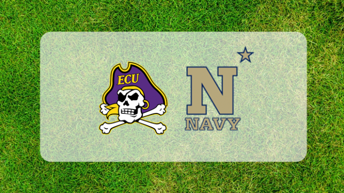Navy and East Caroline logos on grass field